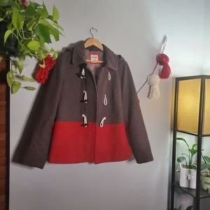 Old Navy Sz L Hooded Brown/Red Peacoat